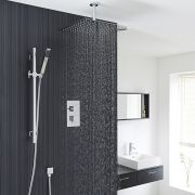 Astbury Twin Concealed Thermostatic Shower With Diverter, Square Ceiling Head And Slider Rail Kit