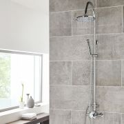 Modern Thermostatic Dual Shower Valve with Rigid Riser Kit