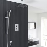 "Square Thermostatic 2 Outlet Shower System with 12"" Ceiling Head & Handshower"