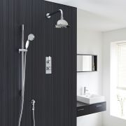 "Traditional Thermostatic 2 Outlet Shower System with 8"" Rose & Handshower"