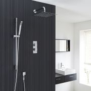 "Square Thermostatic 2 Outlet Shower System with 12"" Head with Wall Arm & Handshower"