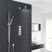 "Square Thermostatic Shower System with 12"" Head with Wall Arm & Handshower"