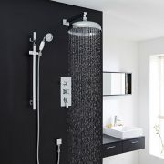 "Traditional Thermostatic Shower System with 12"" Apron Head & Wall Arm & Handset"