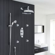"Beaumont Thermostatic Shower System with 12"" Apron with Wall Arm , Handset & 4 Round Jet Sprays"
