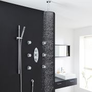 "Tec Thermostatic Shower System with 8"" Round Head & Ceiling Arm , Handset & 6 Round Jet Sprays"