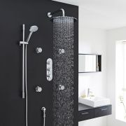 "Quest Thermostatic Shower System with 12"" Round Head & Arm , Multi-function Handset & 4 Round Jet Sprays"