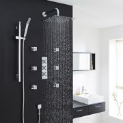 "Kristal Thermostatic Shower System with 12"" Square Head & Wall Arm , Handset & 6 Square Body Sprays"