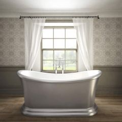 Traditional Silver Freestanding Double Ended Slipper Bath Tub 65""