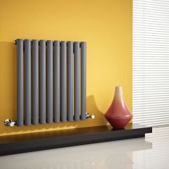 "Revive - Anthracite Horizontal Single-Panel Designer Radiator - 25"" x 23.5"""