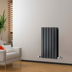 "Delta - Black Horizontal Double Slim-Panel Designer Radiator - 25"" x 16.5"""