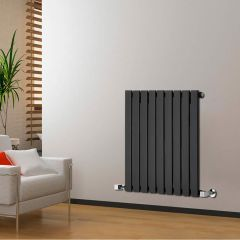 "Delta - Black Horizontal Single Slim-Panel Designer Radiator - 25"" x 24.75"""