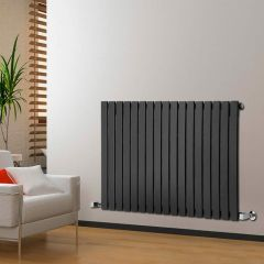 "Delta - Black Horizontal Single Slim-Panel Designer Radiator - 25"" x 46.75"""