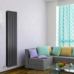 "Delta - Black Vertical Double Slim-Panel Designer Radiator - 63"" x 16.5"""