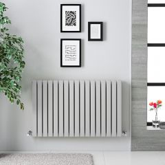 "Sloane - Light Gray Double Flat Panel Horizontal Designer Radiator - 25"" x 39.5"""