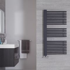 "Bosa - Anthracite Hydronic Designer Towel Warmer - 46.75"" x 23.5"""