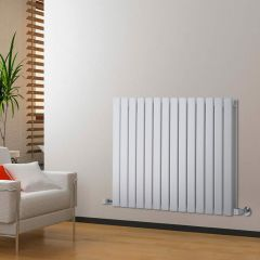 "Delta - White Horizontal Double Slim-Panel Designer Radiator - 25"" x 38.5"""
