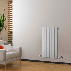 "Delta - White Horizontal Single Slim-Panel Designer Radiator - 25"" x 16.5"""