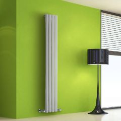 "Edifice - White Vertical Single-Panel Designer Radiator - 63"" x 11"""