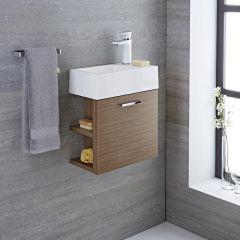 Langley   16u0027u0027 Oak Wall Mount Bathroom Vanity