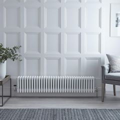 "Regent - White Horizontal 4-Column Traditional Cast-Iron Style Radiator - 11.75"" x 58.5"""