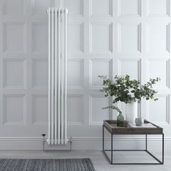 "Regent - White Vertical 4-Column Traditional Cast-Iron Style Radiator - 70.75"" x 10.75"""