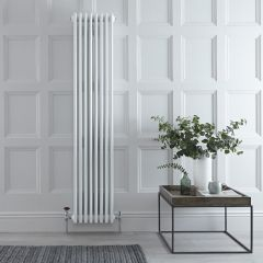 "Regent - White Vertical 4-Column Traditional Cast-Iron Style Radiator - 70.75"" x 14.25"""