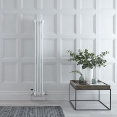 "Regent - White Vertical 3-Column Traditional Cast-Iron Style Radiator - 59"" x 8"""