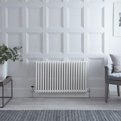 "Regent - White Horizontal 2-Column Traditional Cast-Iron Style Radiator - 23.5"" x 40"""