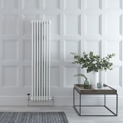 "Regent - White Vertical 3-Column Traditional Cast-Iron Style Radiator - 59"" x 15"""