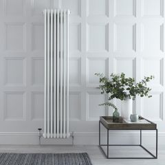 "Regent - White Vertical 3-Column Traditional Cast-Iron Style Radiator - 70.75"" x 15"""