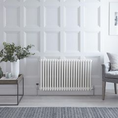 "Regent - White Horizontal 3-Column Traditional Cast-Iron Style Radiator - 23.5"" x 39"""