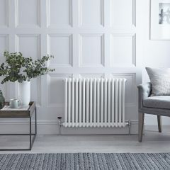 "Regent - White Horizontal 2-Column Traditional Cast-Iron Style Radiator - 23.5"" x 31"""
