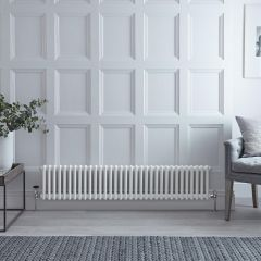 "Regent - White Horizontal 3-Column Traditional Cast-Iron Style Radiator - 11.75"" x 59.25"""
