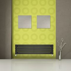 "Revive - Black Horizontal Single-Panel Designer Radiator - 14"" x 70"""