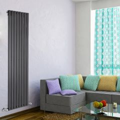 "Delta - Black Vertical Single Slim-Panel Designer Radiator - 70"" x 22"""