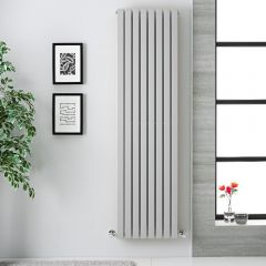 "Sloane - Light Gray Double Flat Panel Vertical Designer Radiator - 70"" x 18.5"""