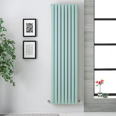 "Sloane - Mint Green Double Flat Panel Vertical Designer Radiator - 70"" x 18.5"""