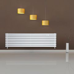 "Revive - White Horizontal Double-Panel Designer Radiator - 18.5"" x 70"""