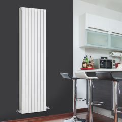 "Sloane - White Vertical Double Flat-Panel Designer Radiator - 70"" x 18.5"""