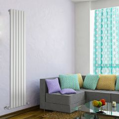 "Delta - White Vertical Single Slim-Panel Designer Radiator - 70"" x 16.5"""