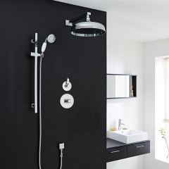 "Traditional 2-Outlet Shower System with 12"" Apron Head, Body Jets & Diverter Valve"