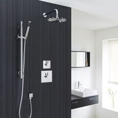 2-Outlet Shower System with Cloudburst Head, Hand Shower & Diverter Valve