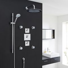 "3-Outlet Shower System with 12"" Square Head, Body Jets & Diverter Valve"