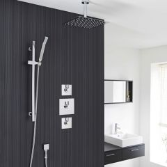 "2-Outlet Shower System with 12"" Square Head, Hand Shower & Shut-Off Valves"