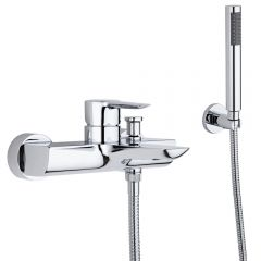 Single Lever Bath Shower Faucet with Handset & Wall Bracket