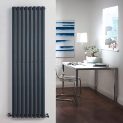 "Revive - Anthracite Vertical Double-Panel Designer Radiator - 63"" x 18.5"""