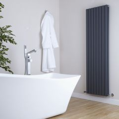 "Sloane - Anthracite Vertical Double Flat-Panel Designer Radiator - 63"" x 18.5"""