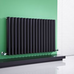 "Revive - Black Horizontal Double-Panel Designer Radiator - 25"" x 39.25"""