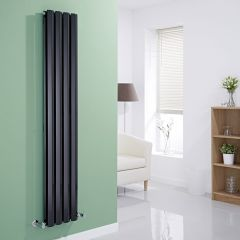 "Edifice - Black Vertical Double-Panel Designer Radiator - 63"" x 11"""