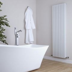 "Sloane - White Vertical Double Flat-Panel Designer Radiator - 63"" x 18.5"""